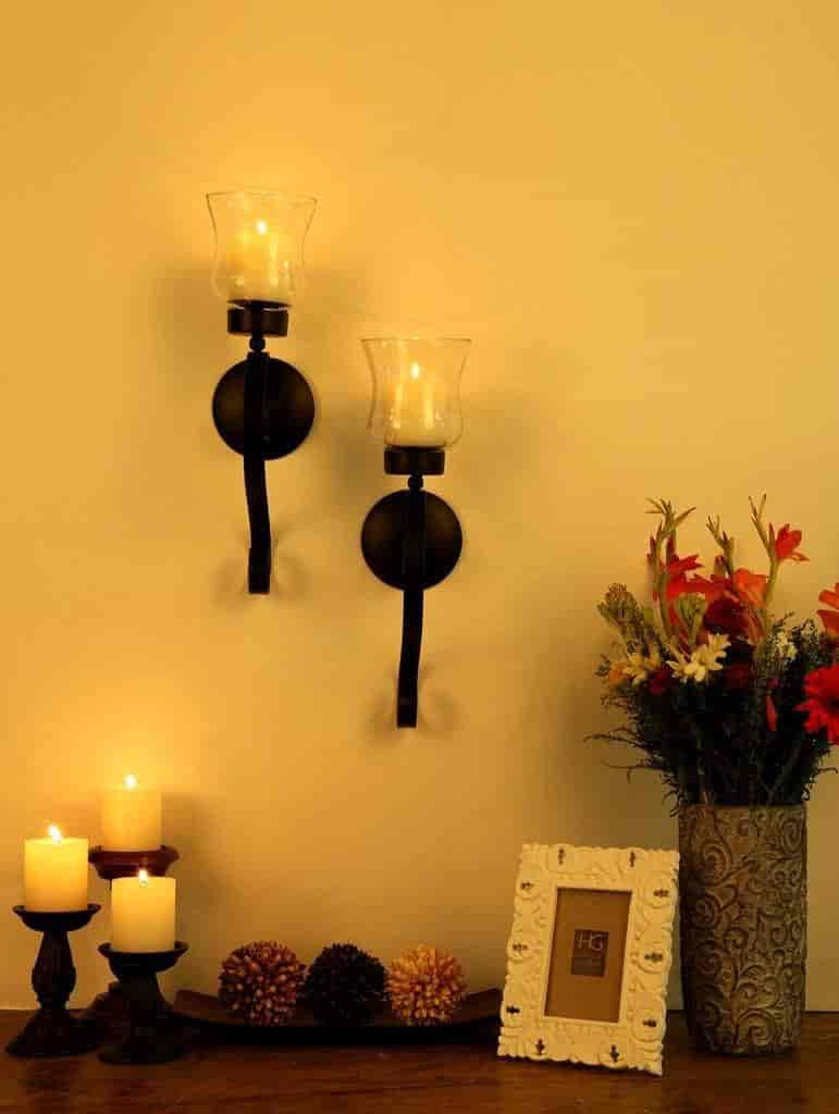 Buy Hosley Set of 2 Decorative Wall Sconce/Candle Holder with Clear ...