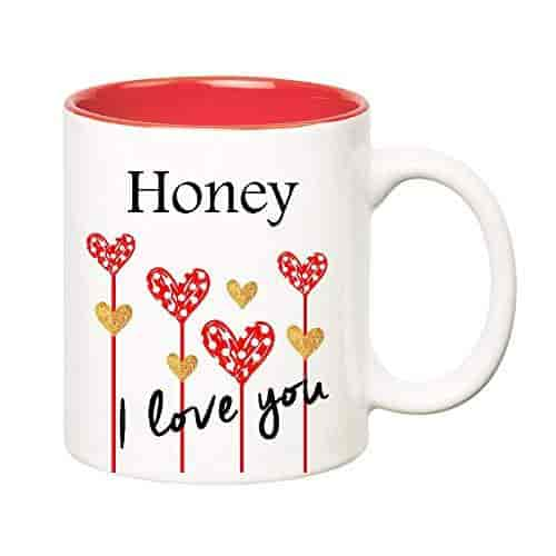 huppme i love you honey inner red ceramic mug 350 ml