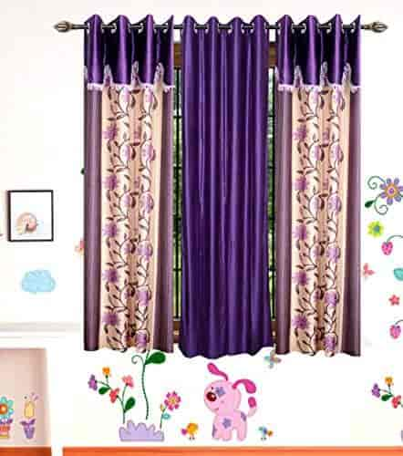 IndianOnlineMall Designer Set Of 3 Eyelet Window Curtains(HZCN0502030)All Sizes(5ft,