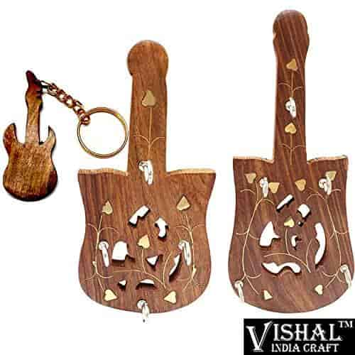 Key Hanger Key Wall Hooks Wooden Key Holder Handcrafted Wooden Key Stand Best Key Organiser Key Chain Stand With Guitar Keyring By Vishal India Ma
