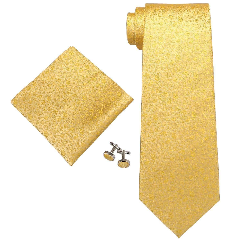 Tie+Hanky+Cufflinks Landisun SILK Paisleys Mens SILK Tie Set