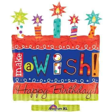 Make A Wish Happy Birthday Cake 26 Mylar Balloon