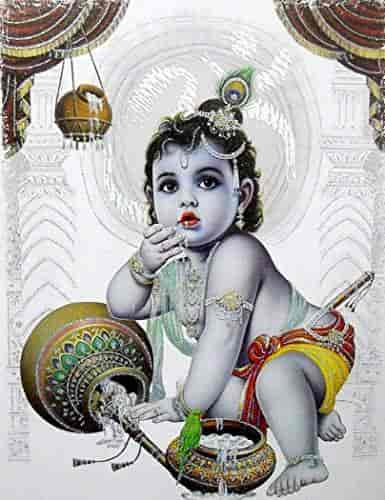 Makhan-Chor-Krishna-Large-Hindu-God-Poster-with-Glitter-Effect-reprint-on-paper-(Unframed-Size-20x28-Inches)