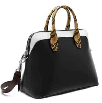 Mulberry Colville Women Smooth Calf Leather with Canary Ayers Snakeskin  trim Tote Bag Black   White e0ac6ee16c