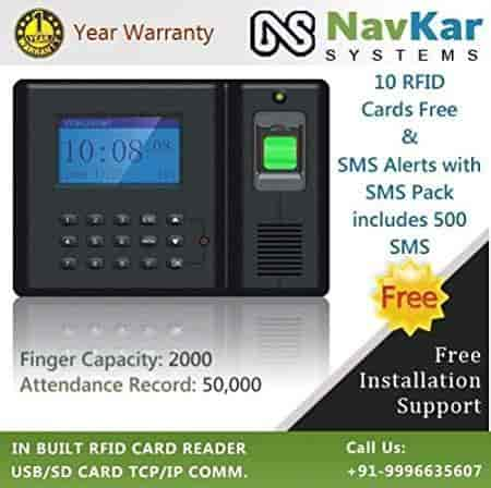 NAVKAR-Biometric-RFID-Card-Based-Attendance-Machine-to-send-SMS-Alerts-with-SMS-Pack