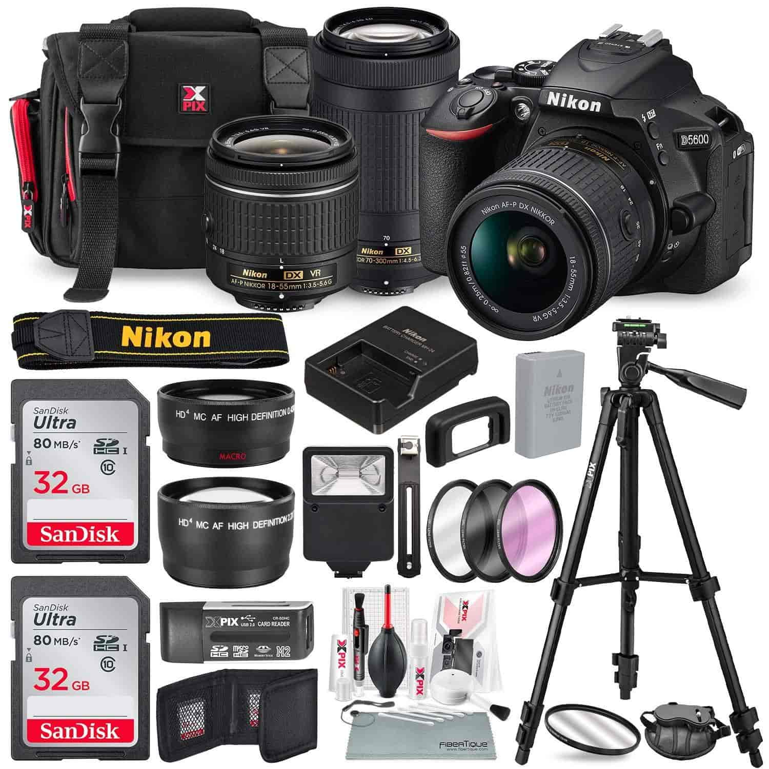 Nikon-D5600-DSLR-Camera-with-NIKKOR-18-55mm-70-300mm-Lenses-W-Total-of-48-GB-SD-Card-Telephoto-Wideangle-Lens-Xpix-Lens-Handling-Accessories-with-Basi
