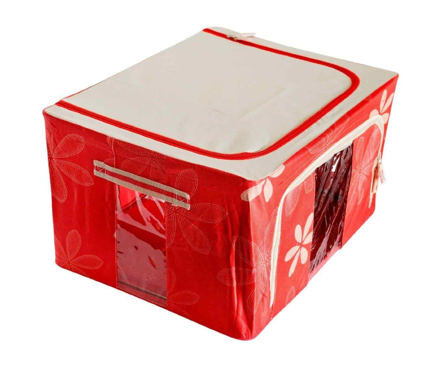 Buy PackNBUY RED Big Foldable Wardrobe Storage Box Steel Frame ...