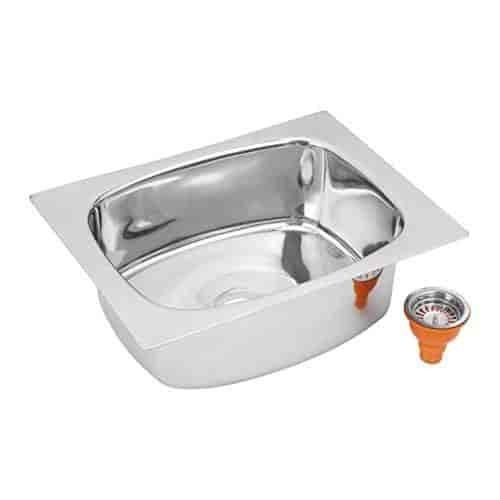 Patel Durashine Promo 202 Ss Single Bowl Duel Mount Kitchen Sink With Strainer 24 X 18 X 9 Inches 18 Gauge 1 Mm Silver