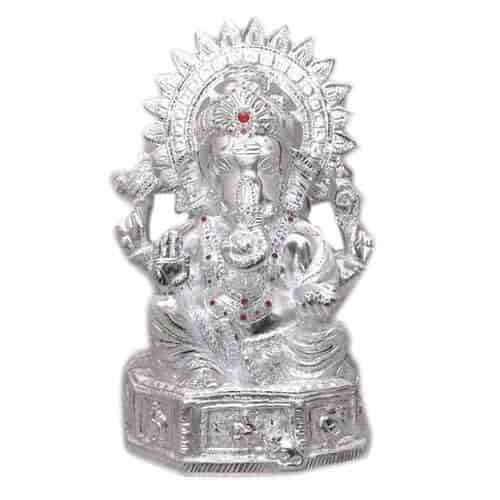 White Metal Saraswati Lakshmi Ganesh Idol At Best Price White