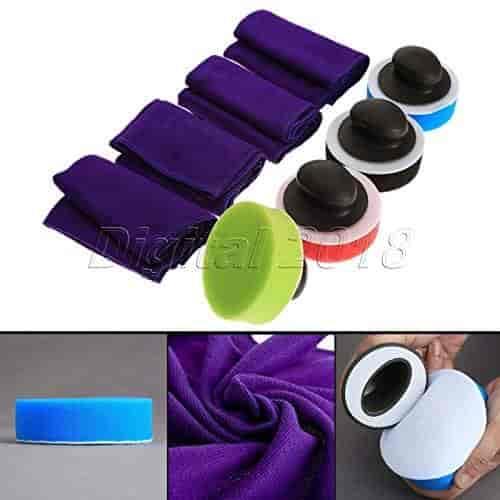 Wax Handle+Sponge Buffing Pad+Towel For Car Polisher Car Polishing Waxing Set