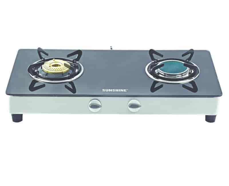 Sunshine Auto Ignition Ceramic 2 Burner Toughened Glass Top Gas Stove