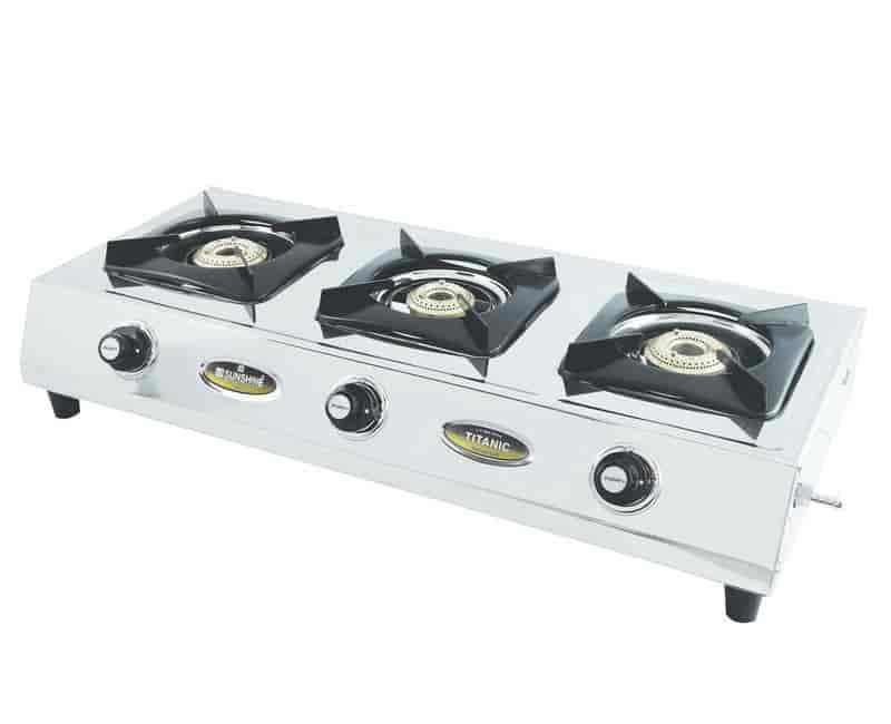 sunshine auto ignition titanic 3 burner stainless steel gas stove