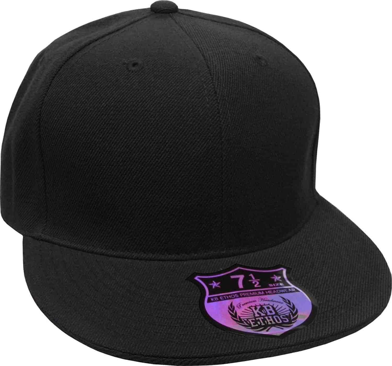 Brim NEW Premium Solid Fitted Cap Baseball Cap Hat Flat Bill
