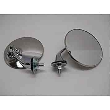 """2 Classic Antique British MG Style 4/"""" Round Side Fender Mirrors SS Housings"""