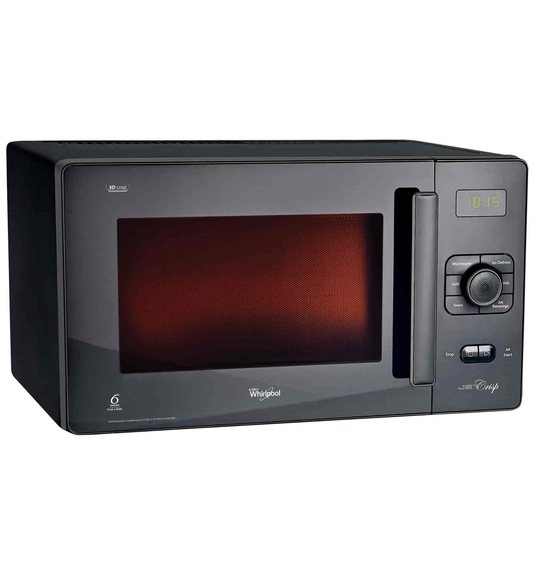 Whirlpool Jet Crisp Convection 25 Litres Microwave Oven Black