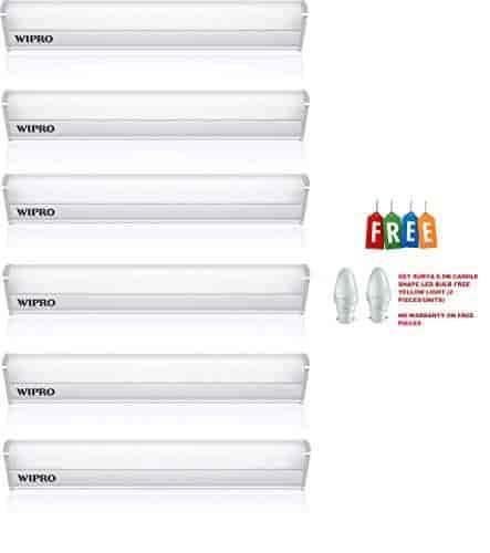 Wipro-Garnet-5-Watt-LED-Batten-(Warm-White)-Pack-of-6-Get-Surya-0-5-Watt-(Yellow-Light)-Two-Pieces-LED-Bulb-Free