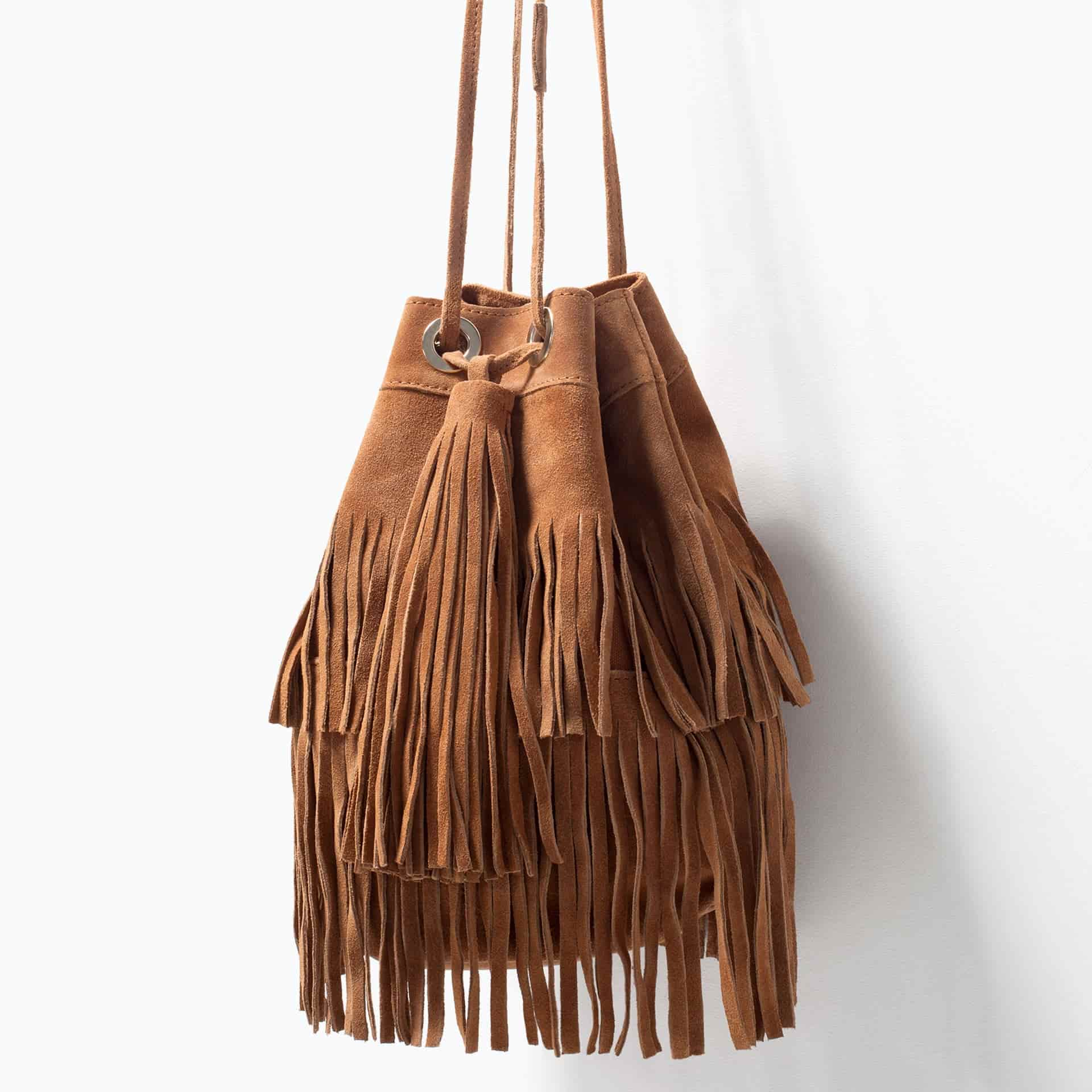 Buy ZARA Fringed Suede Bucket Bag Leather [4200/004], Features ...